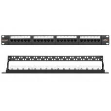 """Патч-панель NIKOMAX 19"""", 1U, 24 порта, Кат.6 (Класс E), 250МГц, RJ45/8P8C, 110/KRONE, T568A/B, неэкранированная, с органайзером, черная"""