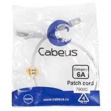 Патч-корд FTP, экранированный, категория 6a, 0.5м, серый, LSZH, Cabeus, PC-SSTP-RJ45-Cat.6a-0.5m-LSZH
