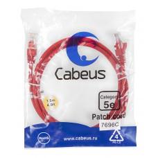 Патч-корд UTP, неэкранированный, категория 5e, 1.5м, красный, PVC, Cabeus, PC-UTP-RJ45-Cat.5e-1.5m-RD