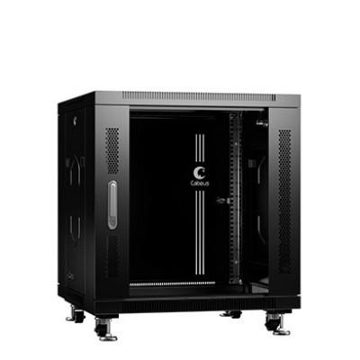 """Шкаф телекоммуникационный 19"""" 12U 600x600, дверь стекло, черный (RAL 9004), Cabeus, SH-05C-12U60/60-BK"""