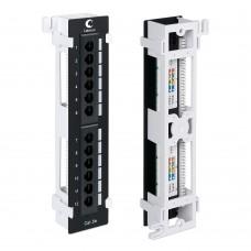 Патч-панель настенная (), 12 портов RJ-45, категория 5e, Dual-IDC, с подставкой, Cabeus, PL-12-Cat.5e-WL-Dual IDC