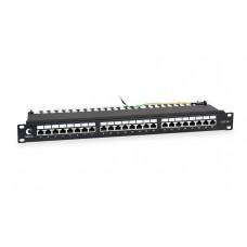 """Патч-панель 19"""" (1U), 24 порта RJ-45, категория 5e, Dual-IDC, экранированная, задний кабельный органайзер, Cabeus, PL-24-Cat.5e-SH-Dual"""