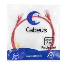 Патч-корд UTP, неэкранированный, категория 5e, 1м, красный, PVC, Cabeus, PC-UTP-RJ45-Cat.5e-1m-RD