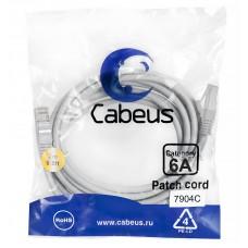 Патч-корд FTP, экранированный, категория 6a, 3м, серый, LSZH, Cabeus, PC-SSTP-RJ45-Cat.6a-3m-LSZH