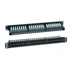 """Патч-панель 19"""" (1U), 48 портов RJ-45, категория 5e, Dual-IDC, высокой плотности портов, задний кабельный органайзер, Cabeus, PLHD-48-Cat.5e-Dual"""