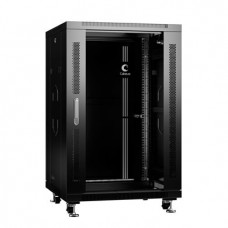 """Шкаф телекоммуникационный 19"""" 18U 600x600, дверь стекло, черный (RAL 9004), Cabeus, SH-05C-18U60/60-BK"""