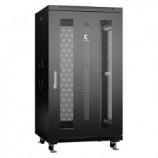 """Шкаф телекоммуникационный 19"""" 22U 600x600, дверь перфорированная, черный (RAL 9004), Cabeus, ND-05C-22U60/60-BK"""