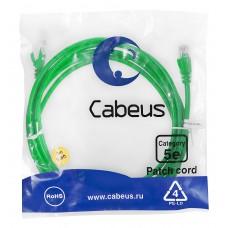 Патч-корд UTP, неэкранированный, категория 5e, 3м, зеленый, PVC, Cabeus, PC-UTP-RJ45-Cat.5e-3m-GN