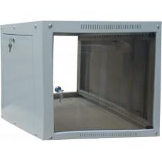 "Шкаф настенный 19"" ФОРМАТ 6U 600x350, дверь стекло, серый (RAL 7035), RMW012-0635.06.02-GY"