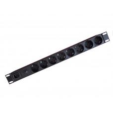 """Блок розеток 19"""" горизонтальный на 8 розеток, 16А, C14, корпус алюминий с защитой от перегрузки, опиция автоматический выключатель, БР-8П-03АВ"""
