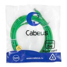 Патч-корд UTP, неэкранированный, категория 5e, 5м, зеленый, PVC, Cabeus, PC-UTP-RJ45-Cat.5e-5m-GN