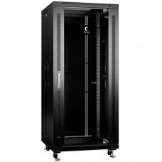 """Шкаф телекоммуникационный 19"""" 27U 600x600, дверь стекло, черный (RAL 9004), Cabeus, SH-05C-27U60/60-BK"""
