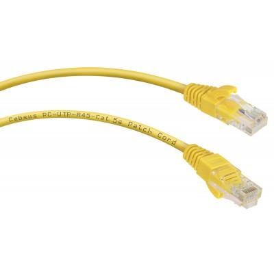 Патч-корд UTP, неэкранированный, категория 5e, 1м, желтый, PVC, Cabeus, PC-UTP-RJ45-Cat.5e-1m-YL