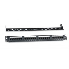 """Патч-панель 19"""" (1U), 24 порта RJ-45, категория 5e, Dual-IDC, задний кабельный органайзер, Cabeus, PL-24-Cat.5e-Dual"""