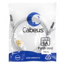 Патч-корд FTP, экранированный, категория 6a, 1м, серый, LSZH, Cabeus, PC-SSTP-RJ45-Cat.6a-1m-LSZH