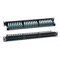 """Патч-панель 19"""" (1U), 48 портов RJ-45, категория 6, Dual-IDC, высокой плотности портов, задний кабельный органайзер, Cabeus, PLHD-48-Cat.6-Dual"""