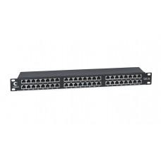 """Патч-панель 19"""" (1U), 48 портов RJ-45, категория 5e, Dual-IDC, экранированная, высокой плотности портов, задний кабельный органайзер, Cabeus, PLHD-48-Cat.5e-SH-Dual IDC-1U"""