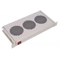 """МВ-400-3С Модуль вентиляторный 19"""" (3 вентилятора) для напольных и настенных шкафов , 1U с термодатчиком 35С"""