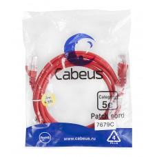 Патч-корд UTP, неэкранированный, категория 5e, 2м, красный, PVC, Cabeus, PC-UTP-RJ45-Cat.5e-2m-RD