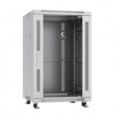 """Шкаф телекоммуникационный 19"""" 18U 600x600, дверь стекло, серый (RAL 7035), Cabeus, SH-05C-18U60/60"""