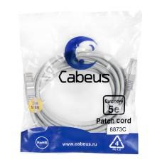 Патч-корд FTP, экранированный, категория 5e, 3м, серый, LSZH, Cabeus, PC-FTP-RJ45-Cat.5e-3m-LSZH