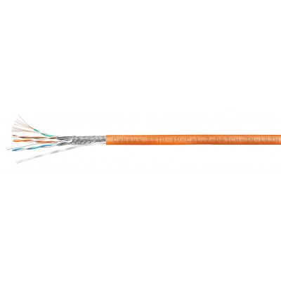 Кабель витая пара FTP категория 6 (S/FTP), 4 пары, 26 AWG, многожильный (patch), оранжевый, LSZH (305м), Cabeus, SSTP-4P-Cat.7-PATCH-IN-LSZH