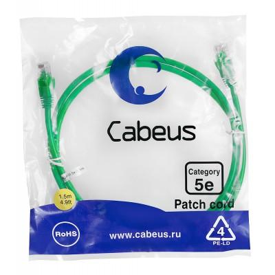 Патч-корд UTP, неэкранированный, категория 5e, 1.5м, зеленый, PVC, Cabeus, PC-UTP-RJ45-Cat.5e-1.5m-GN