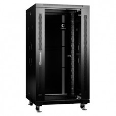 """Шкаф телекоммуникационный 19"""" 22U 600x600, дверь стекло, черный (RAL 9004), Cabeus, SH-05C-22U60/60-BK"""