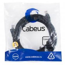 Патч-корд UTP, неэкранированный, категория 5e, 5м, черный, PVC, Cabeus, PC-UTP-RJ45-Cat.6-5m-BK