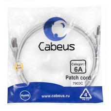 Патч-корд FTP, экранированный, категория 6a, 2м, серый, LSZH, Cabeus, PC-SSTP-RJ45-Cat.6a-2m-LSZH