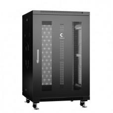 """Шкаф телекоммуникационный 19"""" 18U 600x600, дверь перфорированная, черный (RAL 9004), Cabeus, ND-05C-18U60/60-BK"""