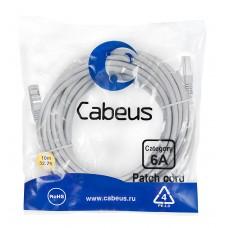 Патч-корд FTP, экранированный, категория 6a, 10м, серый, LSZH, Cabeus, PC-SSTP-RJ45-Cat.6a-10m-LSZH