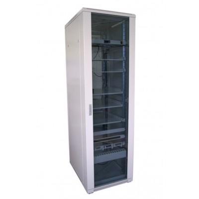 """Шкаф телекоммуникационный 19"""" 32U 600x800, дверь стекло, серый (RAL 7035), RM011-0608.32.02-GY"""