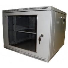 "Шкаф настенный 19"" 9U 600x350, дверь стекло, серый (RAL 7035), RMW01-0635.09.02-GY"