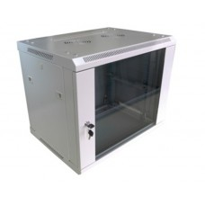 "Шкаф настенный 19"" 12U 600x450, дверь стекло, серый (RAL 7035), RMW011-0645.12.02-GY"