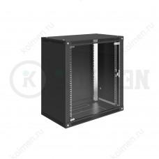 """Шкаф телекоммуникационный настенный Lite 19"""" 12U 600x450, дверь стекло, черный (RAL 9005), SRW03-6045.12.02-BK"""