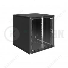 """Шкаф телекоммуникационный настенный Lite 19"""" 12U 600x600, дверь стекло, черный (RAL 9005), SRW03-6060.12.02-BK"""