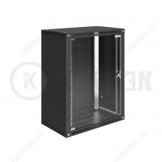"""Шкаф телекоммуникационный настенный Lite 19"""" 15U 600x450, дверь стекло, черный (RAL 9005), SRW03-6045.15.02-BK"""