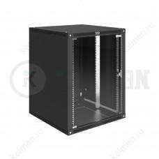 """Шкаф телекоммуникационный настенный Lite 19"""" 15U 600x600, дверь стекло, черный (RAL 9005), SRW03-6060.15.02-BK"""