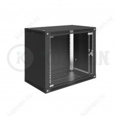 """Шкаф телекоммуникационный настенный Lite 19"""" 9U 600x450, дверь стекло, черный (RAL 9005), SRW03-6045.09.02-BK"""