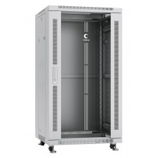 """Шкаф телекоммуникационный напольный 19"""" 22U 600x600, дверь стекло, серый (RAL 7035), Cabeus SH-05C-22U60/60"""