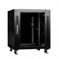 """Шкаф телекоммуникационный напольный 19"""" 12U 600x800, дверь стекло, черный (RAL 9004), Cabeus SH-05C-12U60/80-BK"""
