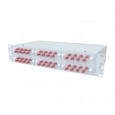 Кросс оптический стоечный 2U, 48 портов ST/UPC, 50/125 мкм OM3 (укомплектованный), SFOB-R-2U-48-ST/U-62.5